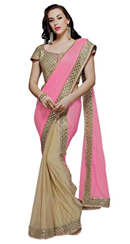 Silk Spandex Georgette Dress (INMONARCH Pink and Beige Lycra & Silk Georgette Bridal Saree SSR4020R ReadyToWear Beige)