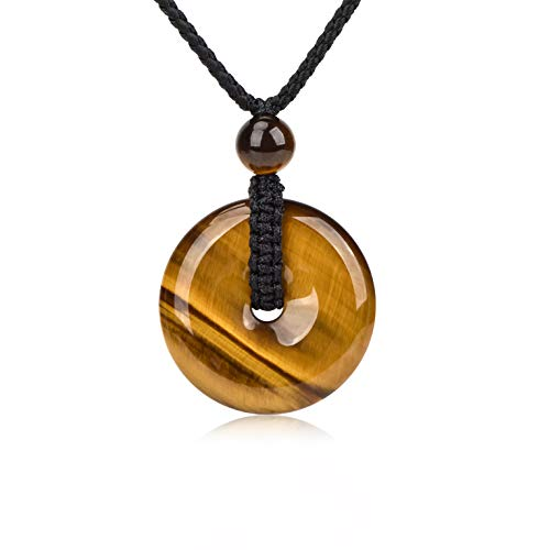 (HASKARE Mens Stone Pendant Tiger Eye Chakra Healing Pendant Necklace, Adjustable 0