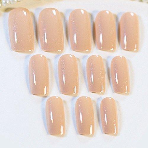24pcs Incarnadine Pink False Nails Tips Pre-Designed Acrylic Fake Nail Z157