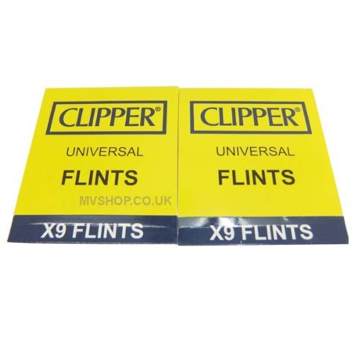 Clipper Lighter Flints 2-Packs x9 Flints each, Compatible with ALL Flint Lighters Including Clipper and Zippo Lighters