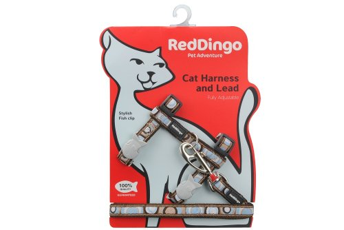 Red Dingo Designer Cat Harness and Lead Combo, Circadelic Brown