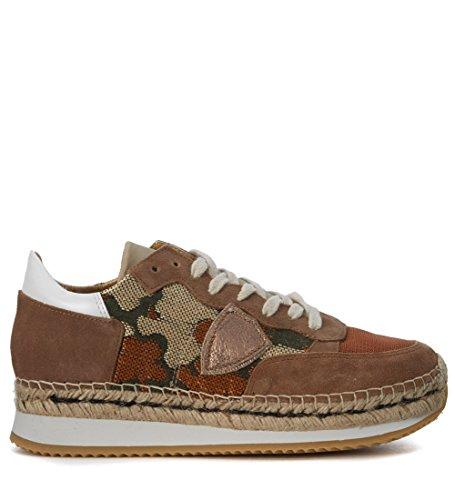 Philippe Model Sneakers Saint Tropez Wildleder und Textil Zweifarbig Braun