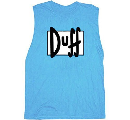 Simpsons Duff Beer Light Blue Sleeveless Adult T-shirt Tee (Adult Large) (T-shirts Simpsons Tees)