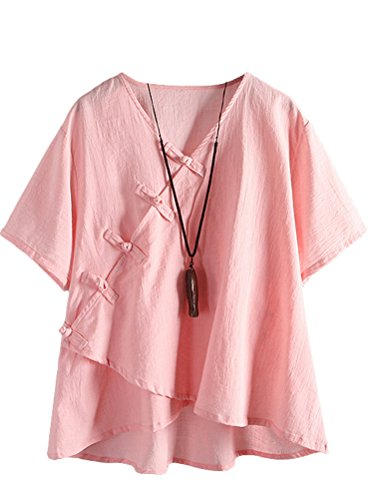 Minibee Women's Linen Retro Chinese Frog Button Tops Blouse Pink XL (Cotton Top)