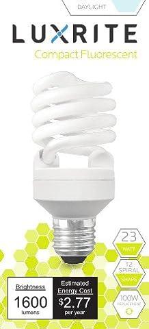 Luxrite LR20200 (1-Pack) 23-Watt CFL T2 Mini Spiral Light Bulb, Equivalent To 100W Incandescent, Day Light 6500K, 1600 Lumens, E26 Standard - Yellow Cfl