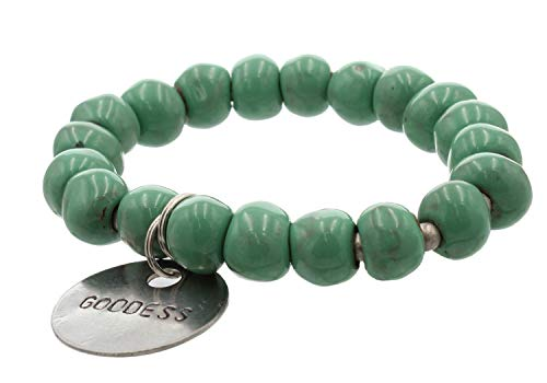 SIMBI Handmade in Haiti 10mm Bright Jade Clay Beaded Stretch Bracelet with Goddess Charm Clean Water for Haitians Fashion for A Cause