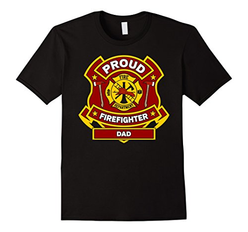 Mens Firefighter Dad T Shirt 2XL Black
