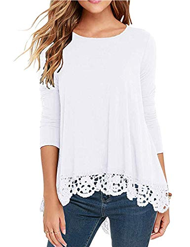 RAGEMALL Women's Tops Long Sleeve Lace Trim O-Neck A-Line Tunic Blouse Tops for Women White S ()