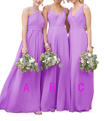(Halter Bridesmaid Dresses Long Pleated Chiffon Beach Wedding Party Dress for Womens Violet A10)