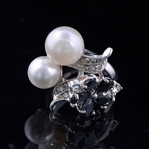 Claire Jin Double Perles Bronze Plaqué Platine Bijoux Perle de Imitation Bague Femme