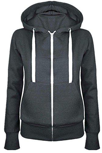 Cotton Sweatshirt Hoodie Dark Thick Closure SZIVYSHI Sleeve Active Long Grey Hood Sport Warm Sporty Zip Tracksuit Hooded Top qzRnvz7a