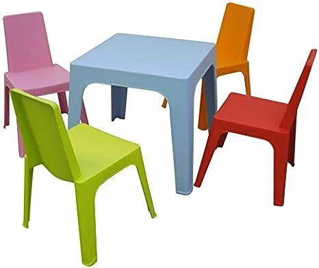resol Julieta set infantil para interior, exterior, jardín - 1 Mesa Azul + 4 Sillas Roja/Rosa/Naranja/Lima