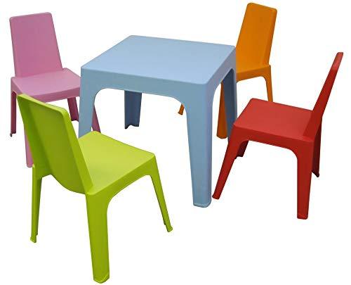 resol Julieta set infantil para interior, exterior, jardin - 1 Mesa Azul + 4 Sillas Roja/Rosa/Naranja/Lima
