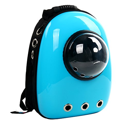 YaeTek Astronaut Pet Cat Dog Puppy Carrier Travel Bag Space Capsule Backpack Breathable (Light Blue)