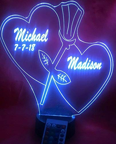 Double Heart Light Up Lamp LED Personalized Couple Hearts and Rose Together Forever Light Up Lamp LED Our Newest Feature - It's WOW, With Remote, 16 Color Options, Dimmer, Free Engraved