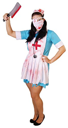 Nurse Uniform Fancy Dress (Halloween-Scary-Evil- ZOMBIE NURSES UNIFORM COSTUME Complete Fancy Dress Ladies Costume - All Ladies Sizes (LADIES 22-26))
