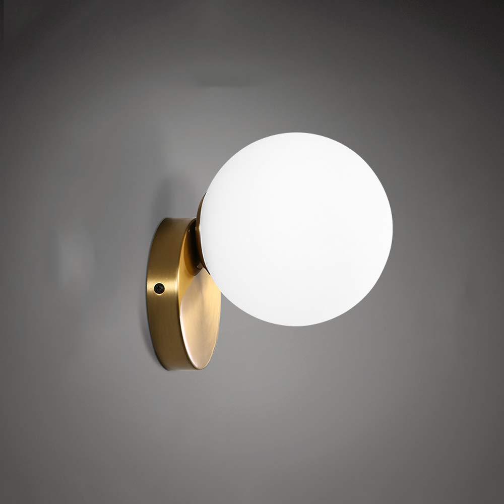 Mpotow Nordic Einfache Moderne Schlafzimmer Nachttischlampen Kreative Persönlichkeit Runde Ball Glas Lampenschirm Wohnzimmer Hintergrund Einzigen Kopf Beleuchtung (Größe   S)