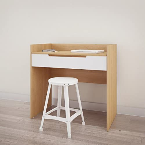 Nexera Nordik Vanity Desk, White and Natural Maple