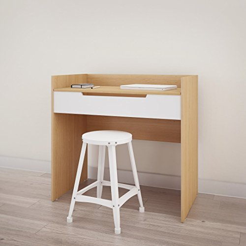 Nexera 342639 Nordik Vanity/Desk, White and Natural Maple
