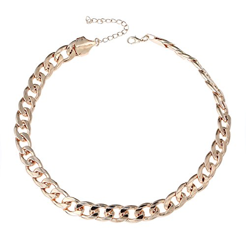 Gold Chain Choker (D EXCEED Gift Idea Rose Gold Metal Figaro Cable Chain Choker Necklace Summer Jewelry for Women 18