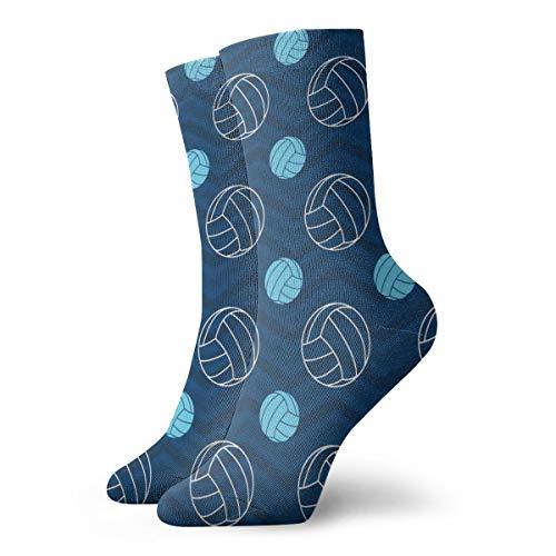 Volleyball Navy Blue Men's Dress Socks High Graduated Short Cycling Socks 11.8
