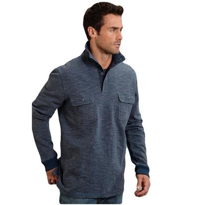 Stetson Men's Bamboo Look Knit Pullover Blue Sweatshirt SM