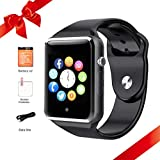 Bluetooth Smart Watch for Android Phones Touchscreen SmartWatch Fitness Tracker with SIM SD Card Slot Camera Pedometer Smart Watches for Men Kids, Black