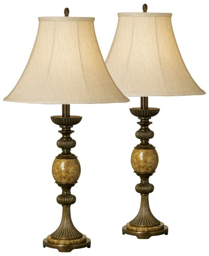 Set of Two Kathy Ireland Riviera Faux Marble Table Lamps - Marble Buffet Lamp