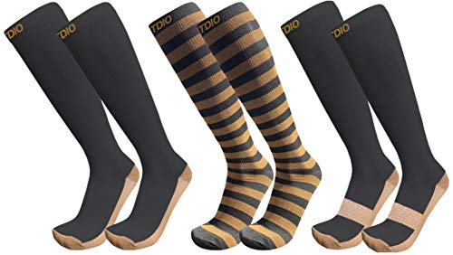 Plus Size Wide Calf 3-Pairs Assorted Knee High Graduated 20-30mmHG Compression Socks for Men & Women (6XL/7XL) ()