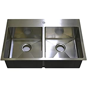 Auric Sinks 33' Premium Stainless Steel Top-mount Kitchen Sink with Heavy 7 Gauge Deck, 50/50 Double Bowl, 6:SHTR-18/7-5050 33229