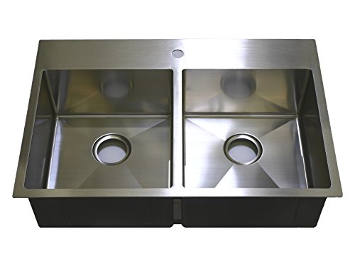 Auric Sinks 33 Premium Stainless Steel Top-mount Kitchen Sink with Heavy 7 Gauge Deck, 50 50 Double Bowl, 6 SHTR-18 7-5050 33229