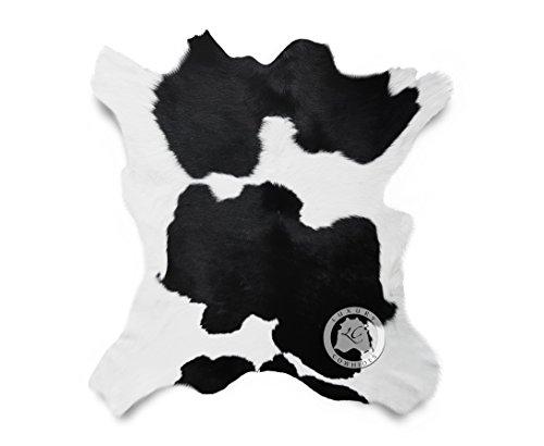 Calfskin Black And White Calfskin Calf Hide Cow Skin Cowhide Rug Leather Area Rug 3 x 2 ft.