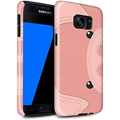 STUFF4 Gloss Tough Shock Proof Phone Case for Samsung Galaxy S7/G930 / Pig Design / Animal Stitch Effect Collection Sales