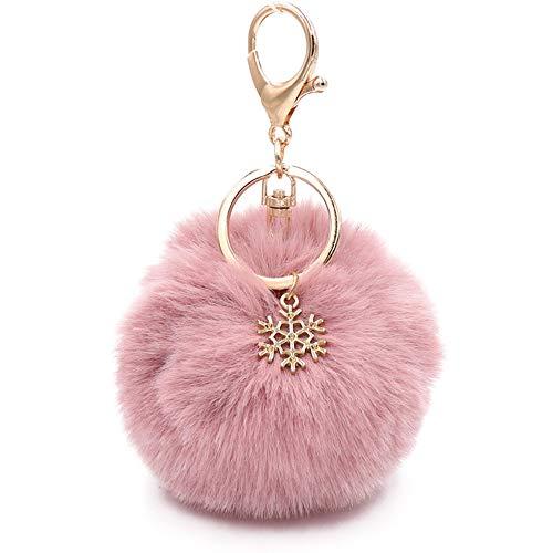 Faux Fur Pom Pom Keychain Purse Bag Charm Fluffy Ball Key Chain for Women (pale pinkish grey) ()