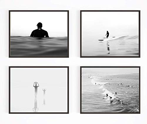 - Black and White Surfing Photography Photographic Prints, Set of 4, UNFRAMED, Surf Surfboard Beach Art Decor Poster Sign, All Sizes