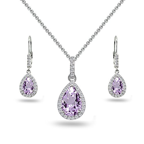 Sterling Silver Amethyst & White Topaz Teardrop Halo Dangling Necklace & Leverback Earrings