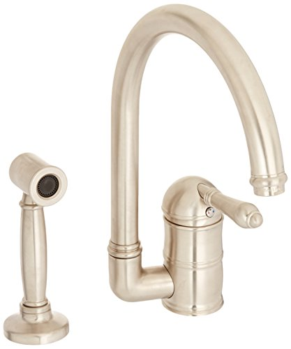 Rohl A3606LMWSSTN-2 Country Kitchen Single Hole Faucet with Metal Lever Sidespray and C Spout, Satin Nickel - Nickel Country Single Hole