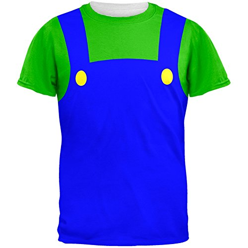 Tv Show Couples Costumes (Halloween Italian Green Plumber Costume All Over Adult T-Shirt - Large)