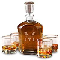 Personalized Whiskey Decanter 4 Low Ball Glasses Gift Set Monogrammed with Name and Initial - Stamped