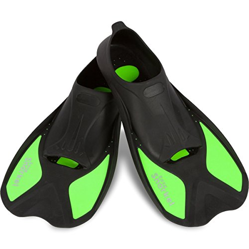 Easy Snorkel Short Blade Snorkeling Swim Fins for Adults - Snorkel Fins for Swimming or Training with Compact Design for Travel, Closed Heel Flippers Comfort (Mint, Medium)