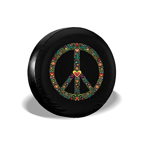 Peace Spare Tire Cover Dust-Proof UV Sun Wheel Covers Fit for Jeep,Trailer, RV, SUV and Many Vehicle 15 Inch Wheel (Honda Crv Spare Tire Cover)
