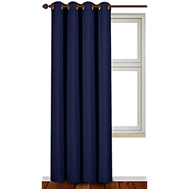 Blackout Room Darkening Curtains Window Panel Drapes - (Navy Color) 1 Panel, 52 inch wide by 84 inch long each panel, 8 Grommets / Rings per panel, 1 Tie Back included - by Utopia Bedding