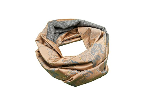 Ring Scarf, Circle Scarf, Head Scarf, Infinity Scarf, Loop, Snood, Double Sided, Women, Girl, Cashmere, Wool, Silk, Grey, Salmon, Orange, Turquoise, Flower Pattern, One size, Italian Style, Handmade