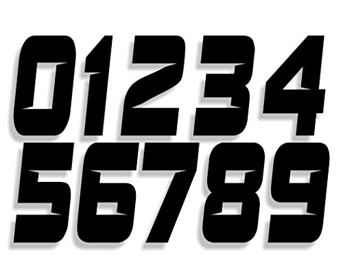 (Mx & ATV Number Plate Decals | Set of 3 Decals With Your Custom Number & Color Choice | Sliced Font Style)
