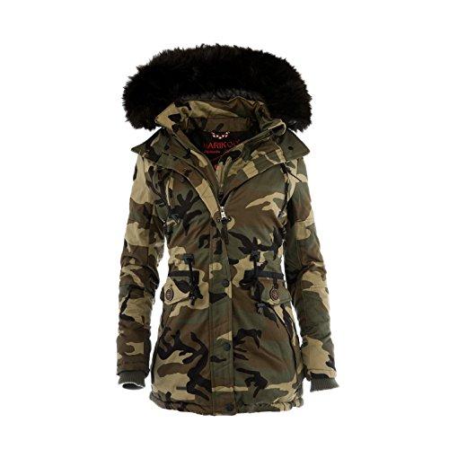 Marikoo Rose Damen Winter Jacke Stepp Mantel Parka Winterjacke Warm gefüttert Camo FGaFJAb2f