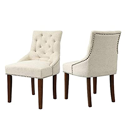Merax Fabric Dining Chairs Set of 2 Leisure Padded Chair with Wood Legs and Armrest, Nailed Trim, Beige
