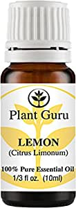 Lemon Essential Oil 10 ml. 100% Pure Undiluted Therapeutic Grade Cold Pressed From Fresh Lemon Peel, Great for Aromatherapy Diffuser, Relaxation and Calming, Natural Cleaner.