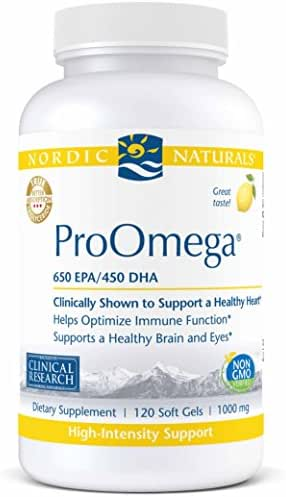Nordic Naturals ProOmega - Fish Oil, 650 mg EPA, 450 mg DHA, High-Intensity Support for Cardiovascular, Neurological, Eye, Joint, and Immune Health*, Lemon Flavored, 120 Soft Gels