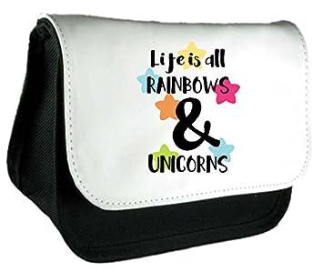La vida es todo de arcoíris y unicornios declaración embrague bolsa o estuche, color negro talla única: Amazon.es: Oficina y papelería