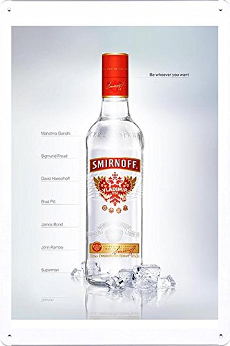"""Tin Sign Metal Poster Plate (8""""x12"""") of Smirnoff Vodka: Be whoever you want by Food & Beverage Decor Sign"""